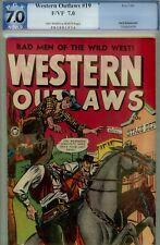 WESTERN OUTLAWS #19- PGX 7.0- KAMEN ART- 1949 FOX HIGHER GRADE VF-