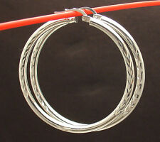 "1 3/4"" 3mm X 45mm Large Diamond Cut Round Hoop Earrings Real Sterling Silver"