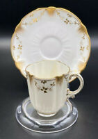 George Jones & Sons Crescent White & Gold China Demitasse Cup and Saucer England