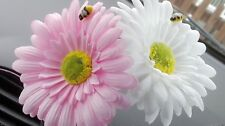 Double Gerbera Daisy Car Dash Flower Light Pink & White for VW Beetle Bug Vase