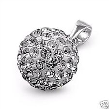 Silver Tiny Clear Crystal Ball Pendant Sterling Silver 925 Best Price Jewelry