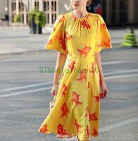 New Occident  autumn neck drape goldfish posed printed horn sleeve dress Fashion