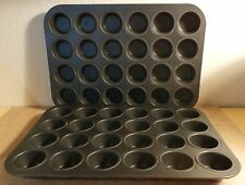 "Set of 2-24 Cup Mini Muffin Pans Tins Cupcake Non-Stick Coating 2"" x 1"" deep cup"