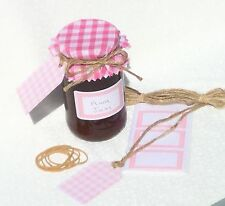 JAM COVERS PINK GINGHAM x12 + sticky jar labels+tags+twine fit jar lids 54-73mm