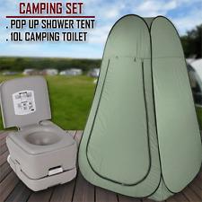 10L Outdoor Portable Toilet Camping Shower Tent Shower Bag Pop Up Change Room Gr