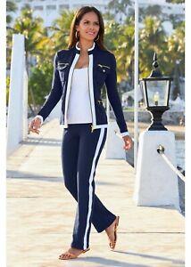 BOSTON PROPER Beyond Travel Chic Zip Sport Coordinate 2 Pc Pants Suit Navy Sz. M