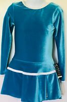 GK TURQUOISE VELVET CHILD SMALL LgSLV N/S PLEAT SKIRT FIGURE SKATE DRESS CS NWT!