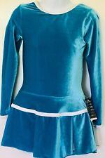 GK TURQUOISE VELVET CHILD SMALL LgSLV N/S PLEAT SKIRT FIGURE SKATE DRESS CS NWT!