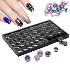 50 Pots Nail Art  Empty Glitter Dust Powder Jewelry Display Box Cases Plate Tool