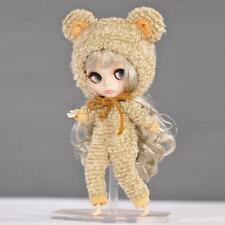 Trendy 1/6 Doll Bear Outfit & Hat Fit for 12'' Blythe Dolls Clothes Dress Up