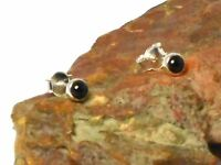 Black  ONYX   Sterling  Silver  925  Gemstone  Earrings / STUDS  -  4 mm