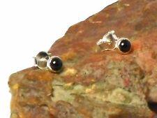Black  ONYX   Sterling  Silver  925  Gemstone  Earrings / STUDS  -  4 mm