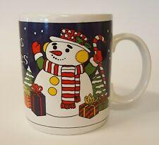 Season's Greetings Christmas Snowman w/presents Coffee Mug Winter Scarf B86