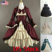 Women Drapery Dress Ruffle Bowknot Dresses Lolita Vintage Goth Cosplay Party US
