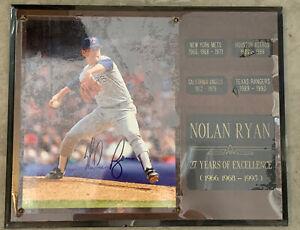 NOLAN RYAN Plaque Signed 8x10 Picture w/ COA Scoreboard Wrapped In Plastic