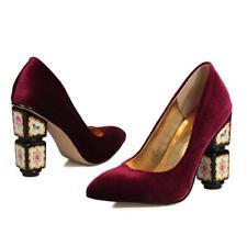 Elegant Vogue Lady's Velvet Block High Heel Pointy Toe Party Pump Wedding Shoes