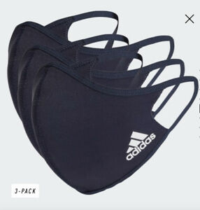 Adidas Face Mask Reusable Washable UK Masks Mouth Black Breathable Cover 3 Pack
