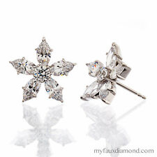 MARQUIS CUT 5A CUBIC ZIRCONIA STAR DESIGN WGP STERLING SILVER EARRINGS