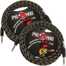 2-PACK PIG HOG RASTA STRIPES 20 FOOT GUITAR INSTRUMENT BASS PATCH CABLE 1/4 CORD