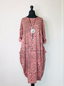 Made In Italy Lagenlook Salmon Pink Animal Print Dress - UK Size 16 18 20 22
