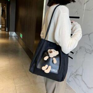Cute Bear Canvas Handbag Fashion Casual Student Cartoon Tote Bag Large Capacity