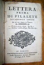 1764 Lettera Prima -Terza di Filalete accademico libero a un suo amico in Torino