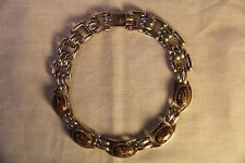 Vintage Taxco Mexico Mexican Sterling Silver Necklace - Five Stone Choker 16""