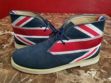 British Flag Chukka Mid Boots Dress Shoes Sz 45uk 11 US M-75 Blue Suede EUC