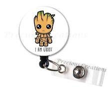 1x I Am Groot Badge Reel Holder Clip Holder Retractable Nurse RN Medical Marvel