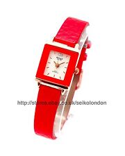 OMAX Ladies Watch White Dial Red Strap (rose Gold) SEIKO Movt.
