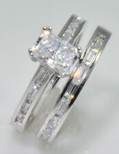 1 ct Radiant Channeled Baguettes & Band Top CZ Imitation Moissanite Simulant 10