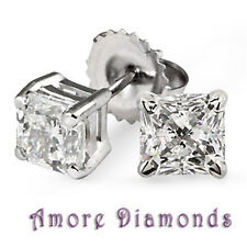 2.36 CT H SI1 NATURAL PRINCESS DIAMOND SOLITAIRE STUD EARRINGS 18K WHITE GOLD