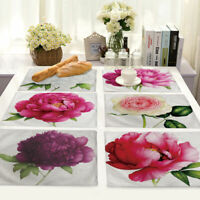 Rose Pattern Cotton Linen Insulation Placemat Dining Table Mat Home Kitchen