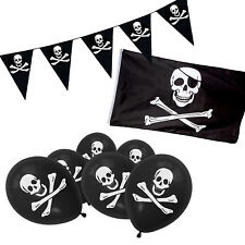 Pirate Jolly Roger Skull & Crossbones Balloons, Flag & Bunting Party Set - Black