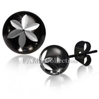 Unique FAMA Black Stainless Steel Engraved Flower Star Ball Circle Stud Earrings