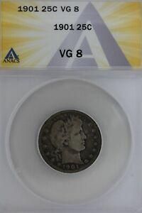 1901  .25  ANACS   VG 8   Barber Quarter, Liberty Head Quarter, Barber 25c,