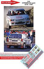 DECALS 1/43 REF 518 CITROEN AX SPORT CHOMAT RALLYE MONTE CARLO 1988 RALLY WRC