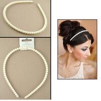 White Pearl Alice Band Girl's Beaded Headband Bridal Brides-mate Quality Tiara