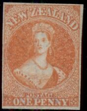 NEW ZEALAND #11, 1p orange vermillion, unused no gum, 4 margins, PF certificate