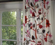 Vorhang Eule Pink rot Offwhite Gardine 115x240 Landhaus