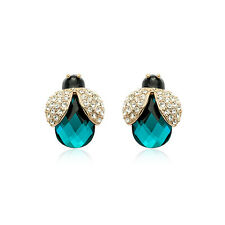 18K ROSE GOLD PLATED EMERALD GREEN CZ & AUSTRIAN CRYSTAL LADYBIRD EARRINGS