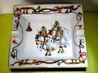 "Very Rare HERMES Horse Flower Ashtray Round Gold Trim Large 7.6"" Porcelain Tray"