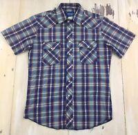 WRANGLER - Vtg Western Pearl Snap Blue Plaid Cowboy Workwear Shirt, Mens LARGE