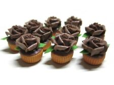 10 Cupcakes Chocolate Rose Top Dollhouse Miniatures Food  Bakery Valentine Day