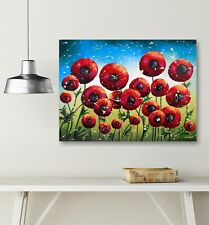 Red Poppy Field Painting Acrylic Pour Canvas Art Fluid Painting Wall Art