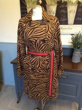 BODEN TRENCH COAT  ANIMAL PRINT WITH CONTRASTING PINK BELT UK 12