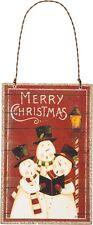 "Wood Ornament Sign ~ ""Merry Christmas""~Snowman Carolers~Dan DiPaolo/Tree/Wreath"