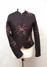 P242/24 Stunning Women's Chinese Style Quilted Black Jacket with Flowers, size10