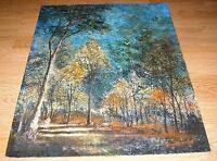 OCTOBER MORNING SYLVAN BLUE SKY MAN WALKING WOODS NATURE LANDSCAPE DOVE PAINTING