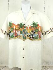 Hawaiian Shirt USA Made Hawaii White Beer Bottles Palm Trees Mens Medium Pocket